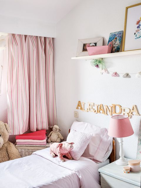 Bedroom, Bed, Furniture, Pink, Room, Curtain, Interior design, Property, Bed sheet, Wall,