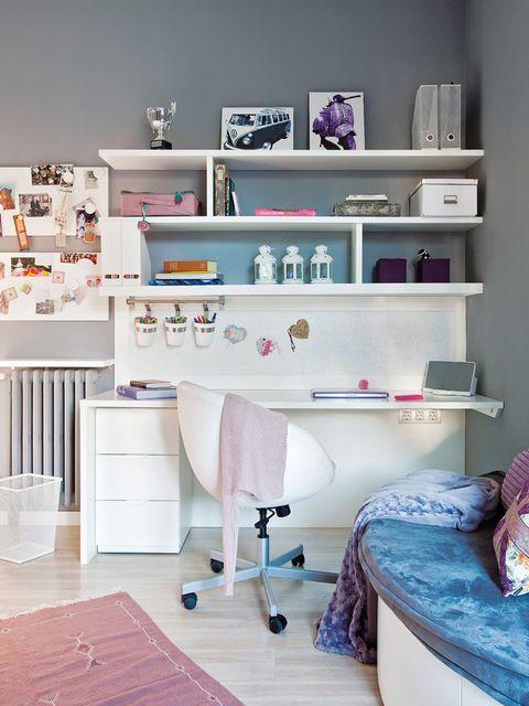 Furniture, Shelf, Room, Purple, Desk, Violet, Shelving, Pink, Lilac, Interior design,