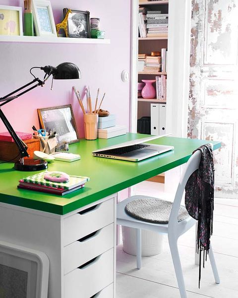 Room, Green, Furniture, Table, Interior design, Office supplies, Shelving, Shelf, Desk, Purple,
