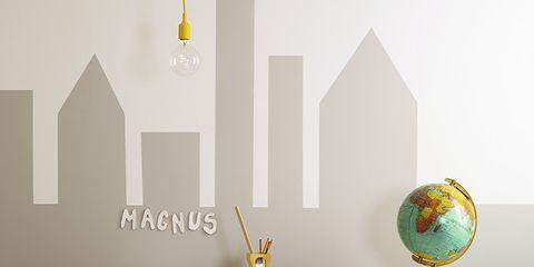 Yellow, Room, Furniture, Table, Interior design, Wall, Office supplies, Interior design, Paint, Design,