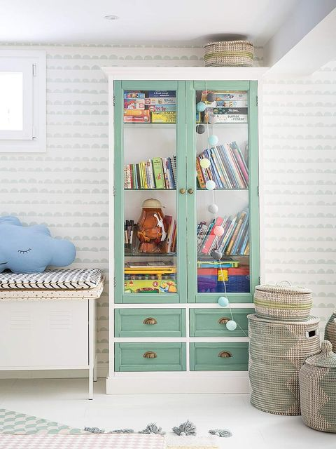 Blue, Room, Interior design, Drawer, Wall, Teal, Shelving, Cabinetry, Shelf, Ceiling,