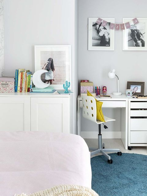 Furniture, White, Bedroom, Room, Chest of drawers, Desk, Interior design, Yellow, Shelf, Wall,