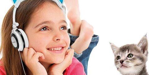 Cat, Felidae, Child, Ear, Skin, Small to medium-sized cats, Kitten, Audio equipment, Play, Technology,