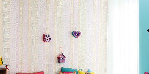 Blue, Room, Interior design, Textile, Furniture, Pink, Wall, Home, Interior design, Turquoise,