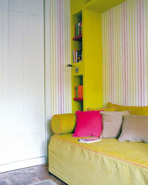 Room, Interior design, Green, Yellow, Property, Wall, Textile, Floor, Home, Purple,