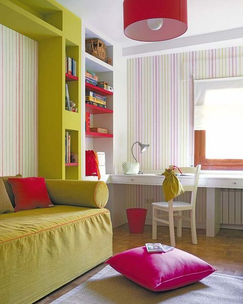 Room, Interior design, Yellow, Textile, Red, Wall, Furniture, Home, Pink, Magenta,