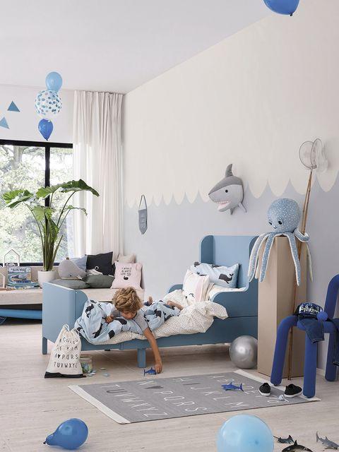Blue, Room, Interior design, Furniture, Living room, Design, Floor, House, Table, Architecture,