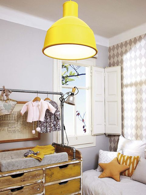 Room, Product, Yellow, Interior design, Textile, Wall, Lampshade, Light fixture, Ceiling, Interior design,