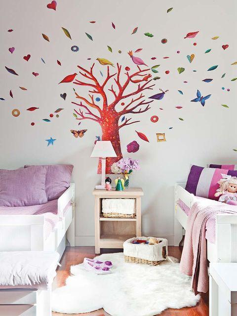 Branch, Room, Interior design, Wall, Purple, Furniture, Pink, Wall sticker, Interior design, Lavender,