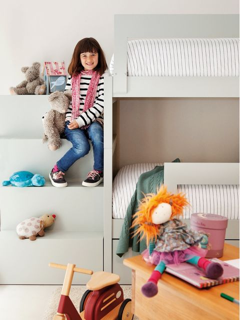 Room, Textile, Jeans, Denim, Jacket, Toy, Natural material, Fur, Peach, Stuffed toy,