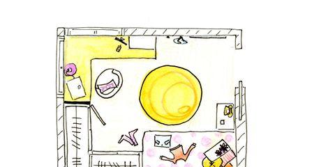 Yellow, Toilet, Circle, Illustration, Drawing, Plumbing fixture, Paper,