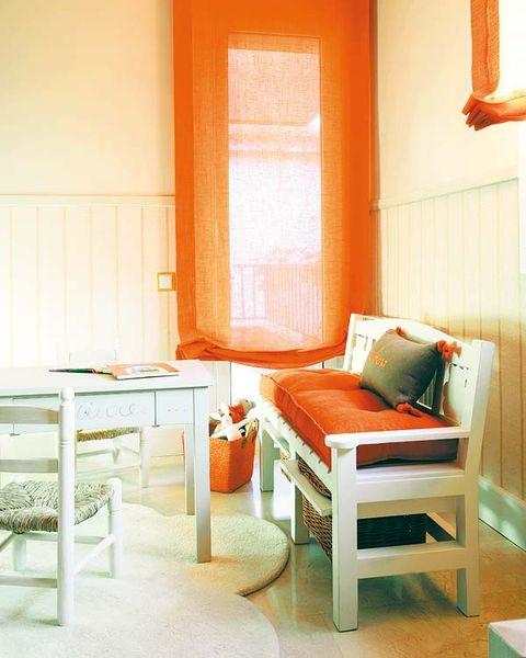 Room, Interior design, Wood, Floor, Orange, Textile, Flooring, Wall, Furniture, Amber,