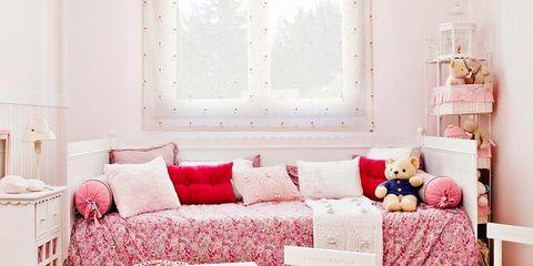 Room, Interior design, Home, Furniture, Textile, Floor, Wall, White, Flooring, Pink,