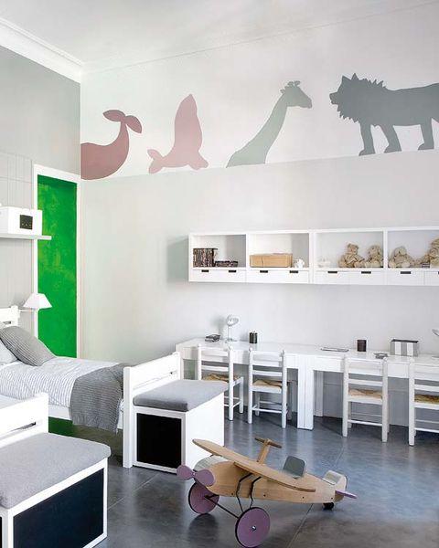 Room, Interior design, Wall, Floor, Furniture, Table, Terrestrial animal, Wall sticker, Interior design, Grey,