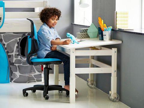 Room, Sitting, Furniture, Table, Office chair, Desk, Chair, Writing desk, Aqua, Teal,