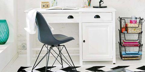 Furniture, Shelf, Room, Desk, Interior design, Wall, Table, Shelving, Black-and-white, Design,
