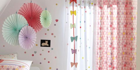 Room, Interior design, Textile, Pink, Bed, Linens, Interior design, Teal, Bedroom, Bedding,