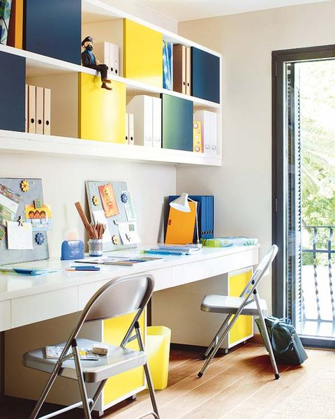 Yellow, Room, Shelving, Interior design, Shelf, Furniture, Wall, Paint, Folding chair, Plywood,
