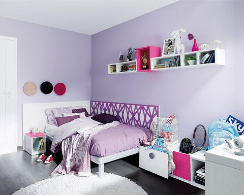 Room, Interior design, Product, Textile, Wall, Purple, Bed, Pink, Violet, Floor,