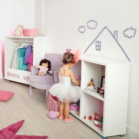 Room, Pink, Dress, Toy, Lavender, Peach, Shelving, Embellishment, Shelf, Dollhouse,