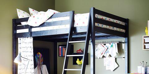 Room, Interior design, Ladder, Furniture, Table, Shelving, Interior design, Throw pillow, Shelf, Pillow,