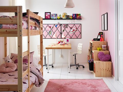 Room, Interior design, Floor, Wall, Flooring, Interior design, Bedding, Shelving, Linens, Purple,