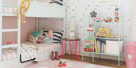 Room, Furniture, Product, Bed, Wall, Interior design, Bedroom, Wallpaper, Pink, Nursery,