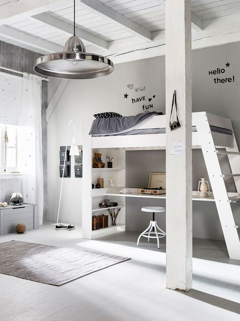 White, Interior design, Ceiling, Room, Furniture, Property, Building, Floor, Black-and-white, House,