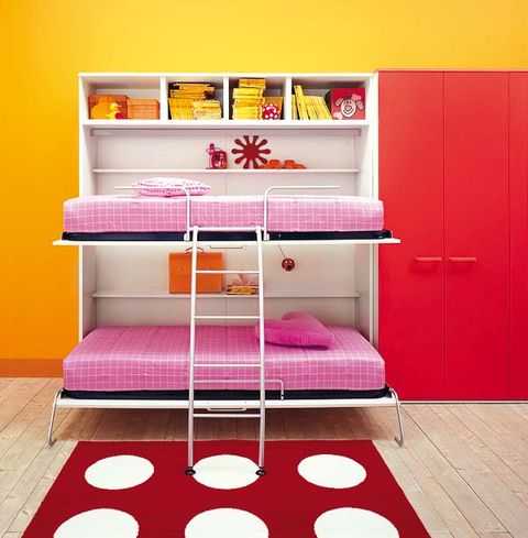 Room, Floor, Flooring, Red, Interior design, Pink, Shelving, Magenta, Shelf, Door,