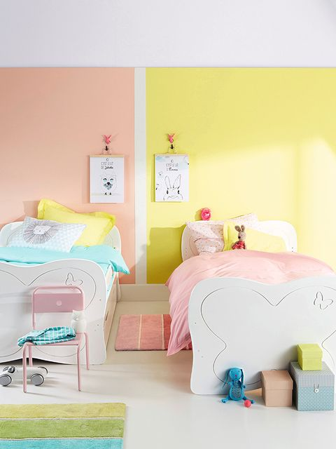 Room, Product, Bedding, Textile, Interior design, Bedroom, Bed sheet, Pink, Linens, Wall,