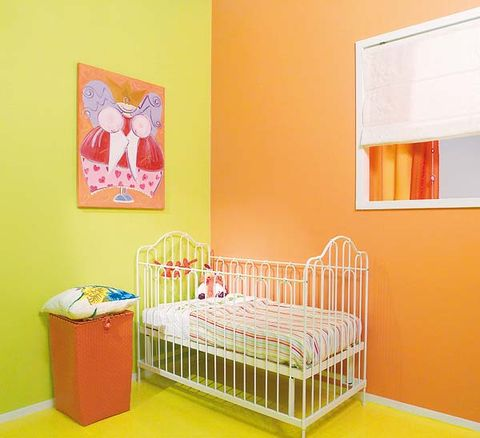 Product, Room, Yellow, Bed, Textile, Interior design, Orange, Wall, Bed frame, Bedding,