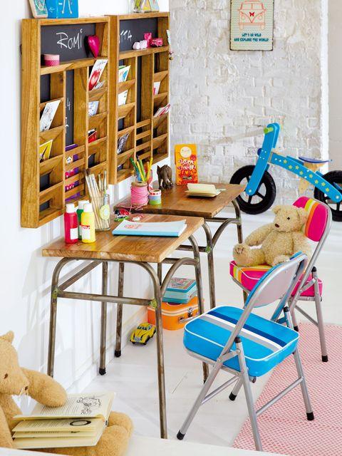 Room, Shelving, Teddy bear, Bread, Shelf, Toy, Household supply, Desk, Folding chair,