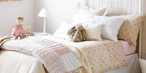 Room, Interior design, Bed, Textile, Bedroom, Bedding, Wall, Linens, Bed sheet, Pink,