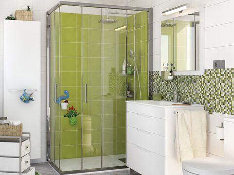 Property, Floor, Room, Interior design, Wall, Plumbing fixture, Flooring, Tile, Glass, Fixture,