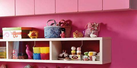 Room, Pink, Magenta, Shelving, Dress, Purple, Shelf, Lavender, Violet, Peach,