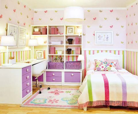 Room, Green, Interior design, Textile, Pink, Bed, Furniture, Floor, Purple, Wall,
