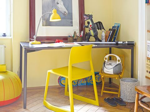 Yellow, Room, Furniture, Table, Bag, Interior design, Shelving, Luggage and bags, Shelf, Interior design,
