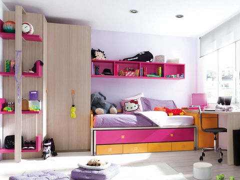 Room, Interior design, Purple, Violet, Wall, Furniture, Home, Pink, Shelving, Ceiling,
