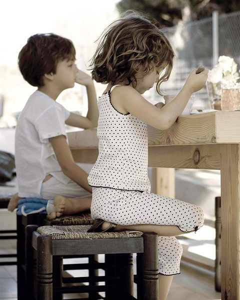 Sitting, Child, Baby & toddler clothing, Toddler, Stool, One-piece garment, Day dress, Balance, Ankle, Curious,