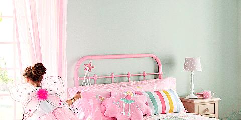 Room, Product, Interior design, Bed, Bedding, Textile, Bedroom, Red, Bed sheet, Pink,