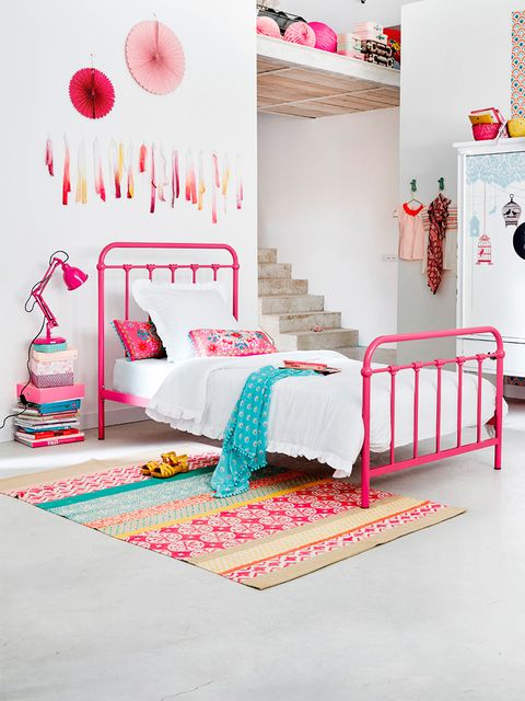 Room, Product, Interior design, Bed, Textile, Bedding, Bedroom, Pink, Red, Wall,