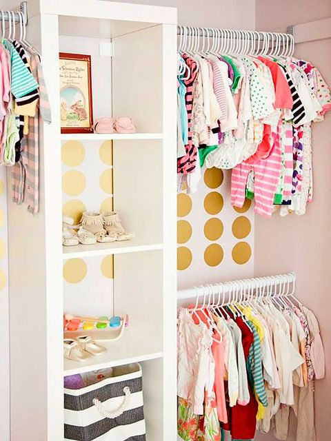Room, Textile, Pink, Interior design, Shelving, Peach, Clothes hanger, Collection, Closet, Shelf,