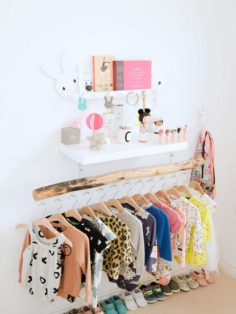 Room, Peach, Clothes hanger, Collection, Paint, Shelving, Linens,