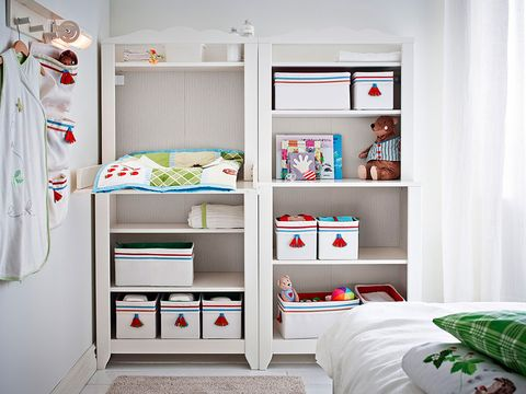 Room, Interior design, Textile, Wall, Shelving, Linens, Bedding, Bedroom, Bed, Cupboard,