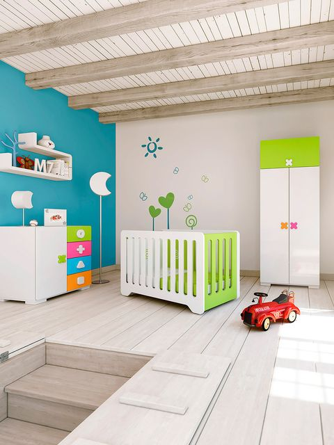 Floor, Room, Interior design, Flooring, Wall, Ceiling, Nursery, Turquoise, Toy vehicle, Toy,