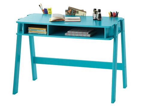 Table, Turquoise, Teal, Azure, Office supplies, Aqua, Desk, Rectangle, Writing desk, Office equipment,
