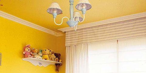 Room, Interior design, Yellow, Textile, Wall, Furniture, Ceiling, Interior design, Light fixture, Home,