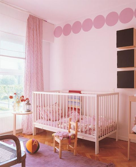 Product, Room, Infant bed, Wood, Interior design, Pink, Nursery, Peach, Bed, Baby Products,