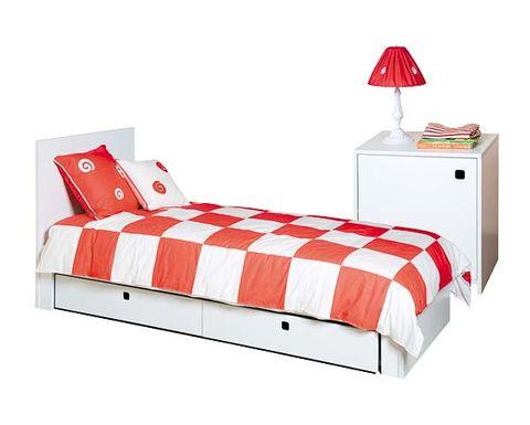 Bed, Product, Room, Bedding, Red, Bedroom, Textile, Orange, Bed sheet, Furniture,