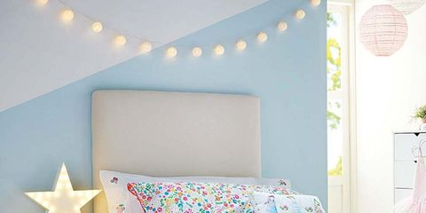 Blue, Room, Green, Interior design, Lighting, Yellow, Bed, Property, Bedding, Wall,